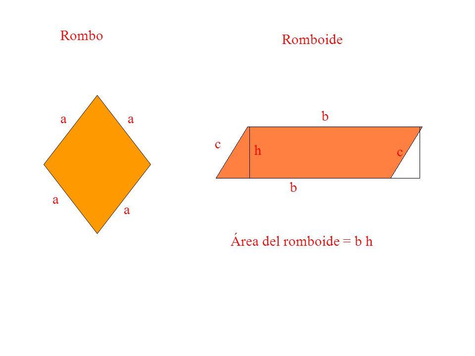 Rombo Romboide a a b c h c b a a Área del romboide = b h