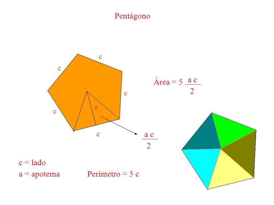 Pentágono Área = 5 a c 2 a c 2 c = lado a = apotema Perímetro = 5 c c