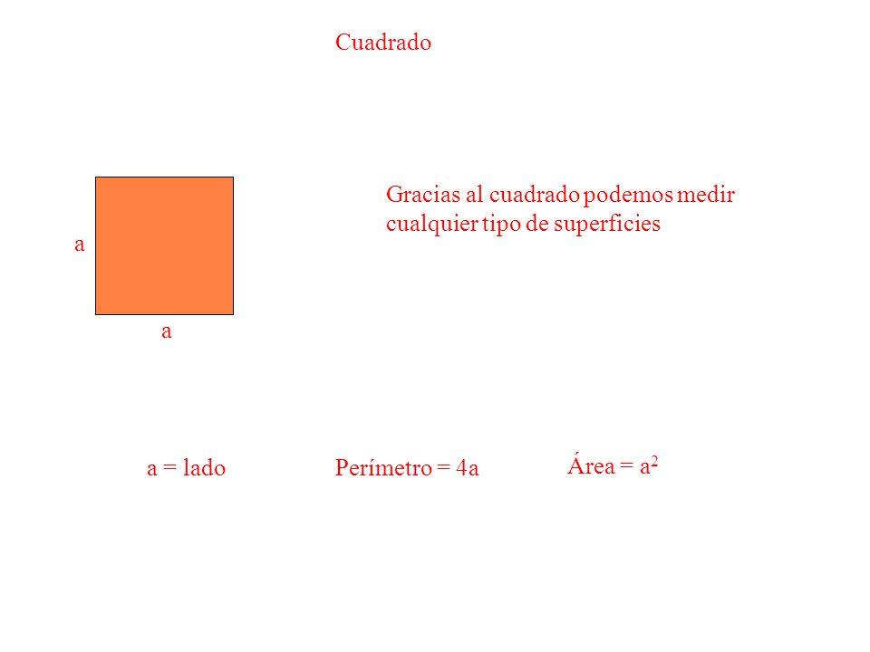 Cuadrado Gracias al cuadrado podemos medir cualquier tipo de superficies. a. a. a = lado. Perímetro = 4a.