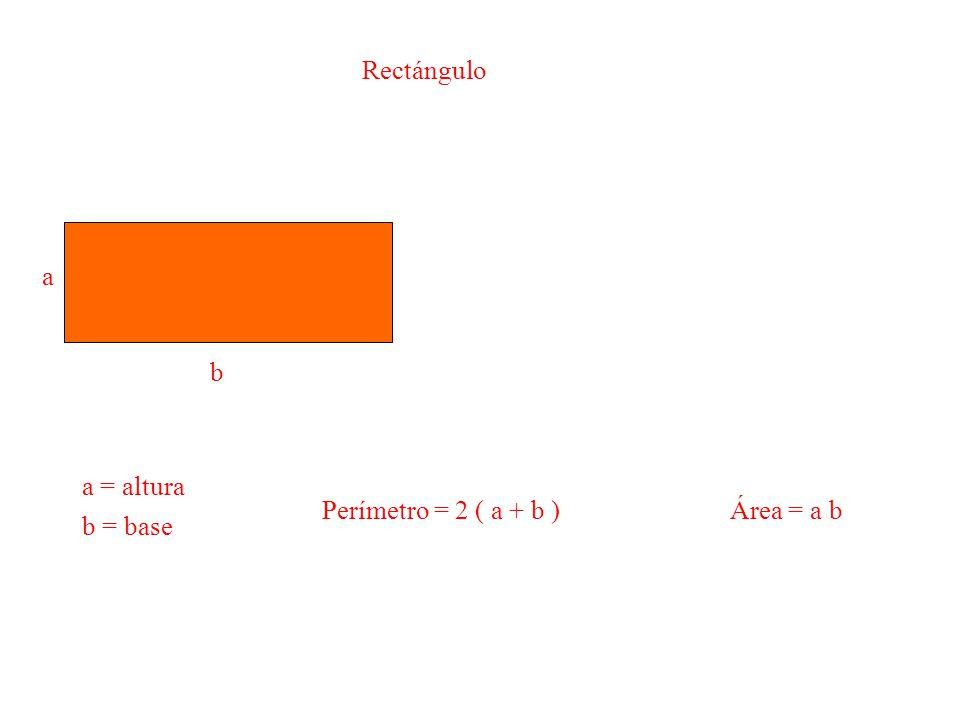 Rectángulo a b a = altura b = base Perímetro = 2 ( a + b ) Área = a b
