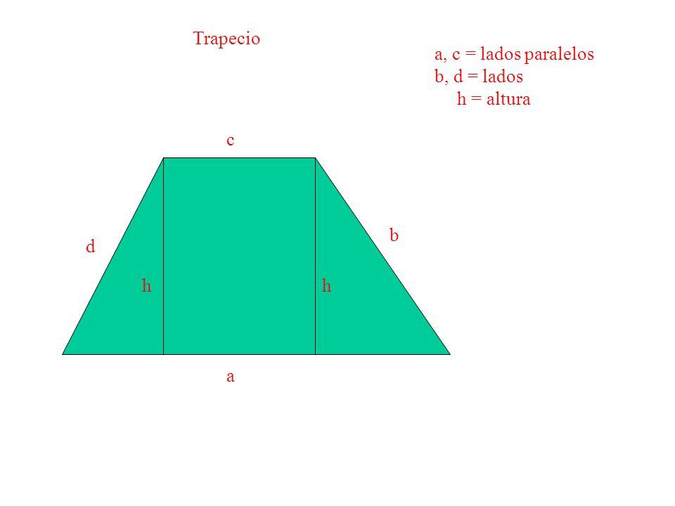 Trapecio a, c = lados paralelos b, d = lados h = altura c b d h h a