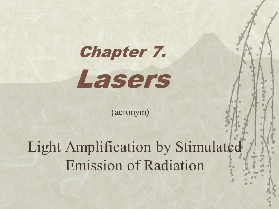 history of the laser or light amplification by stimulated emission of radiation The word laser was coined as an acronym for light amplification by the  stimulated emission of radiation the special nature of laser light has made  laser.