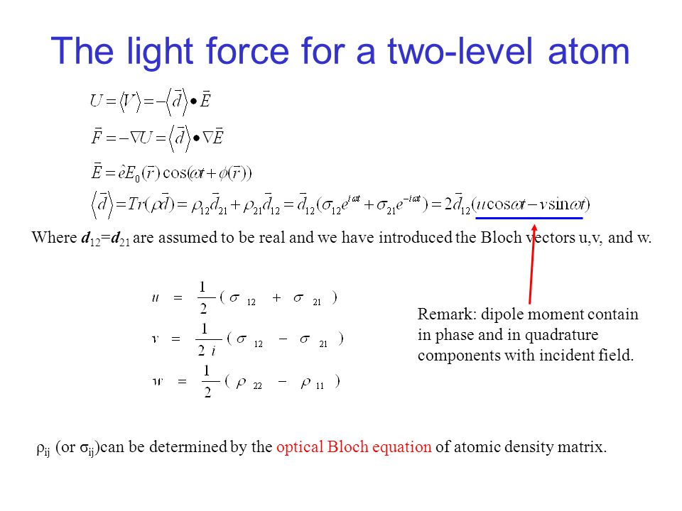 The light force for a two-level atom