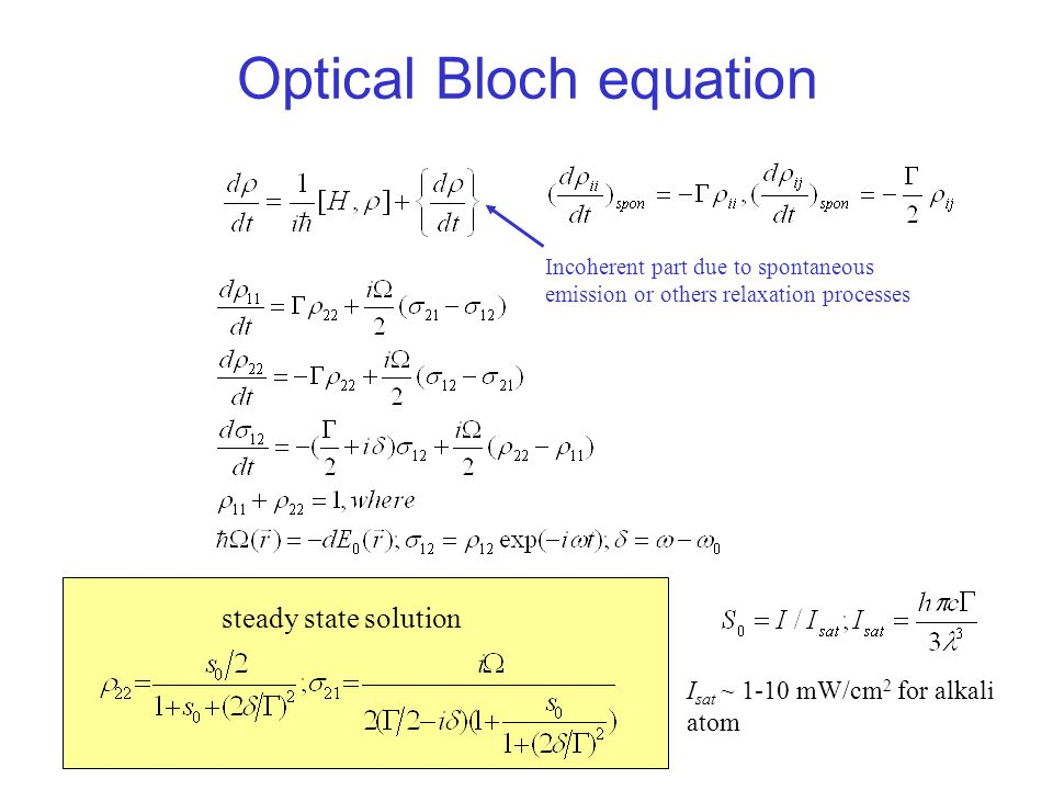 Optical Bloch equation