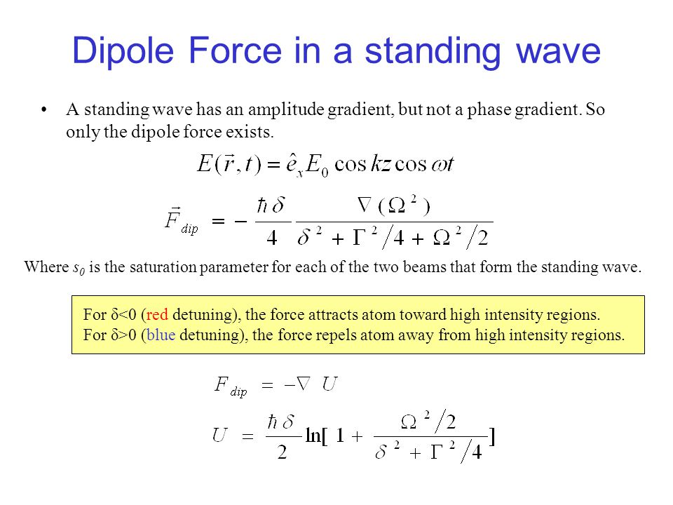Dipole Force in a standing wave