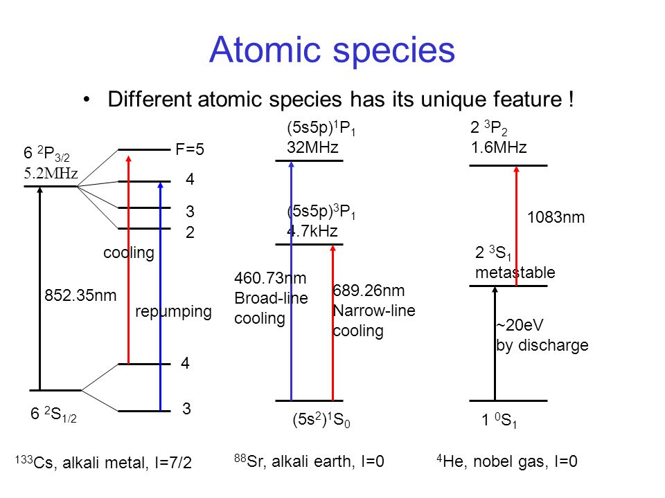 Atomic species Different atomic species has its unique feature !