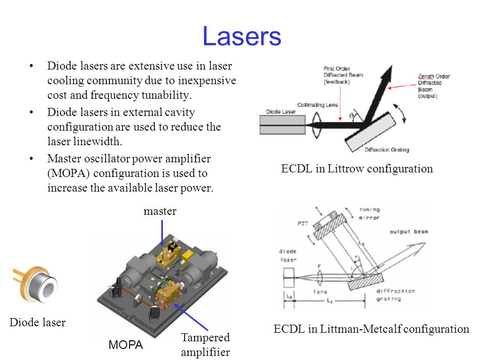 Lasers Diode lasers are extensive use in laser cooling community due to inexpensive cost and frequency tunability.