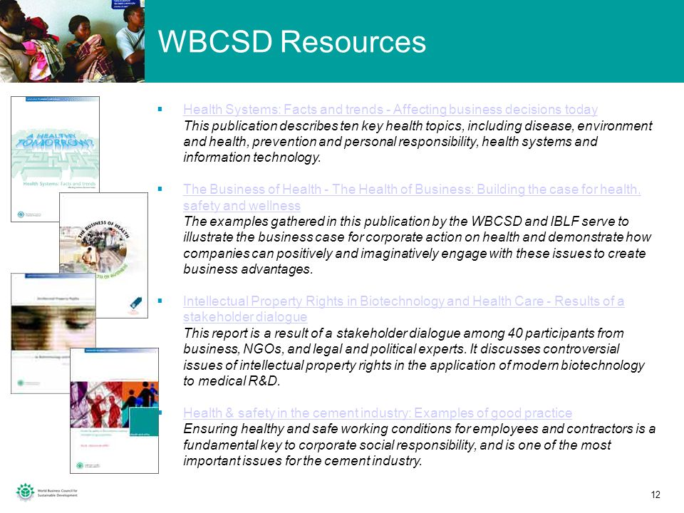 WBCSD Resources Health Systems: Facts and trends - Affecting business decisions today.