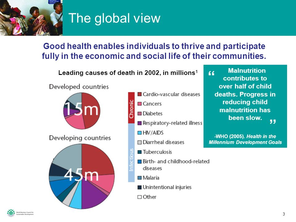 The global view Good health enables individuals to thrive and participate fully in the economic and social life of their communities.