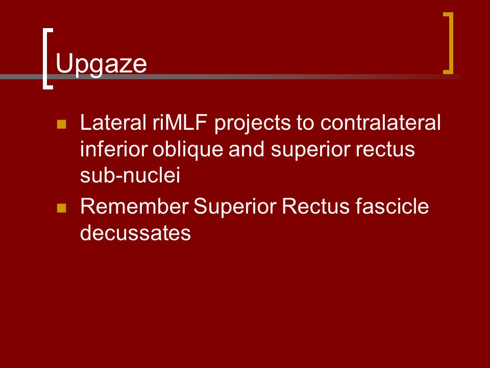 Upgaze Lateral riMLF projects to contralateral inferior oblique and superior rectus sub-nuclei.