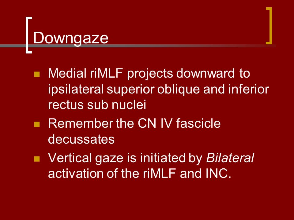 Downgaze Medial riMLF projects downward to ipsilateral superior oblique and inferior rectus sub nuclei.
