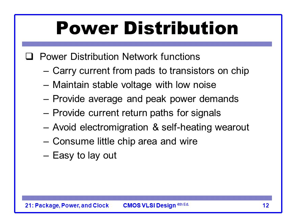 Power Distribution Power Distribution Network functions