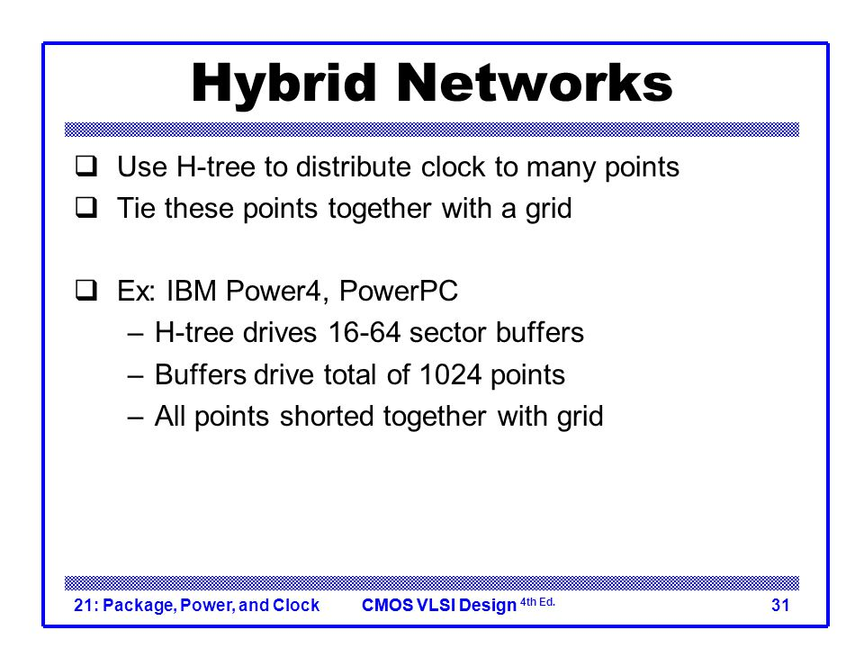 Hybrid Networks Use H-tree to distribute clock to many points