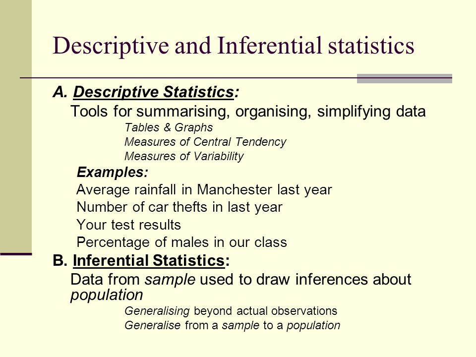 inferential statistics Inferential statistics are used to test hypotheses and make estimations using sample data 来自 wikipedia even when a data analysis draws its main conclusions using.