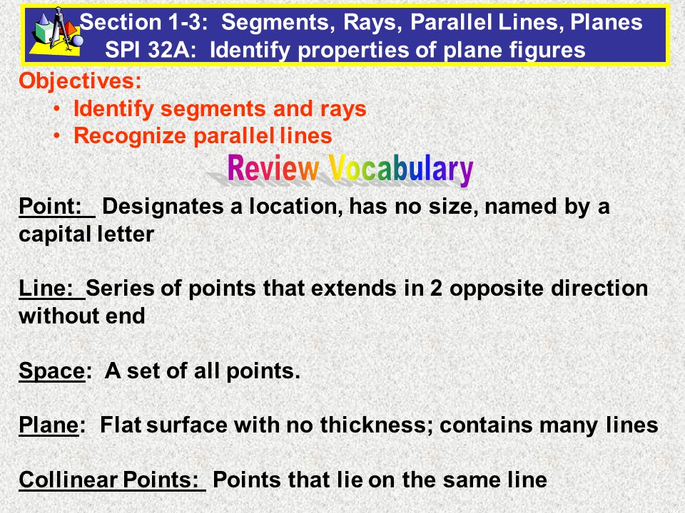 13558dcba074 Objectives  Identify segments and rays Recognize parallel lines - ppt video  online download