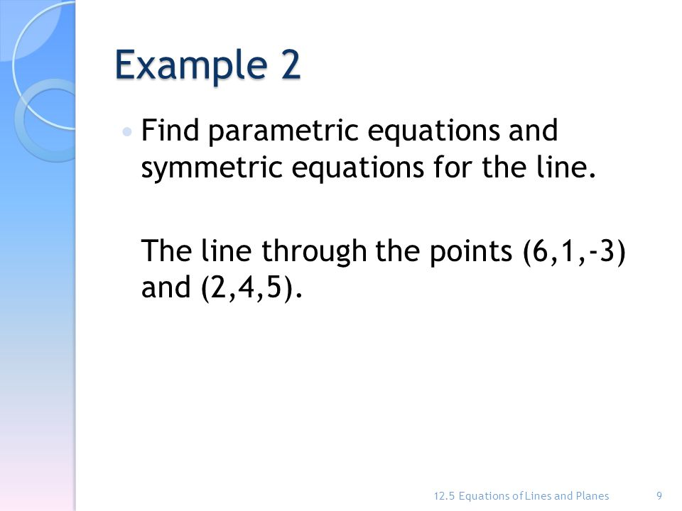 how to write parametric equations