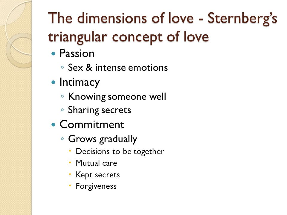 The dimensions of love - Sternberg's triangular concept of love