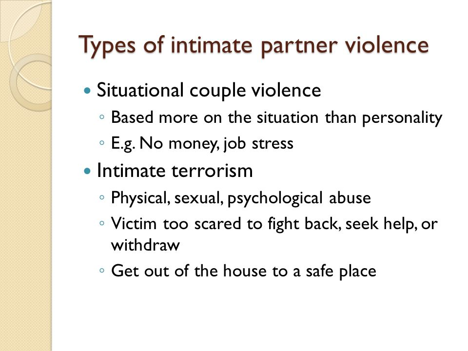 Types of intimate partner violence
