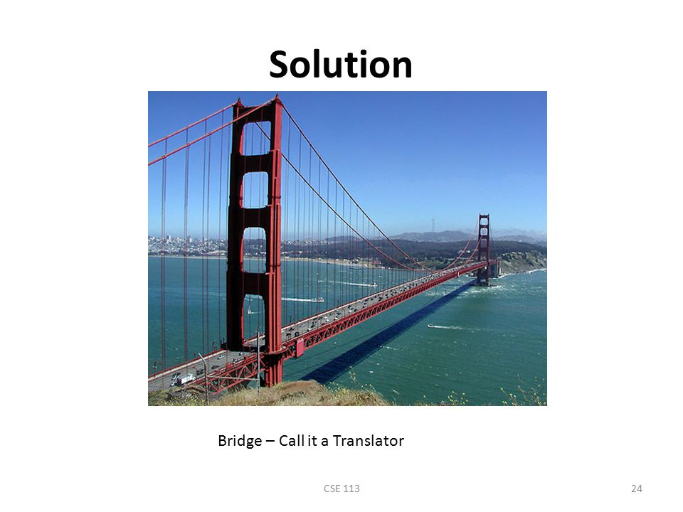 Solution Bridge – Call it a Translator CSE 113