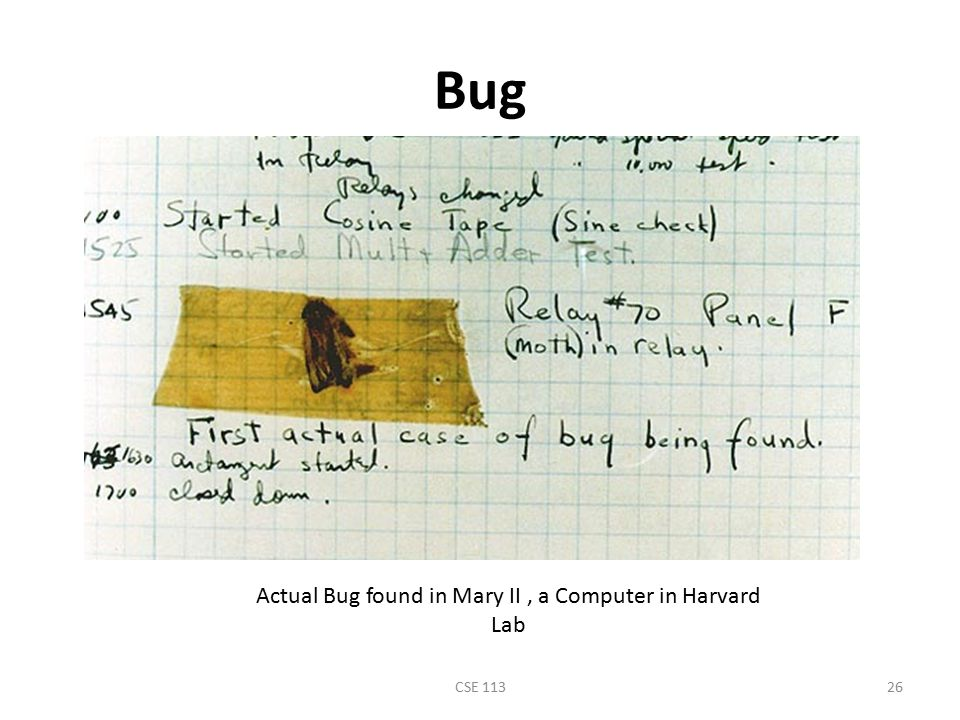 Actual Bug found in Mary II , a Computer in Harvard Lab
