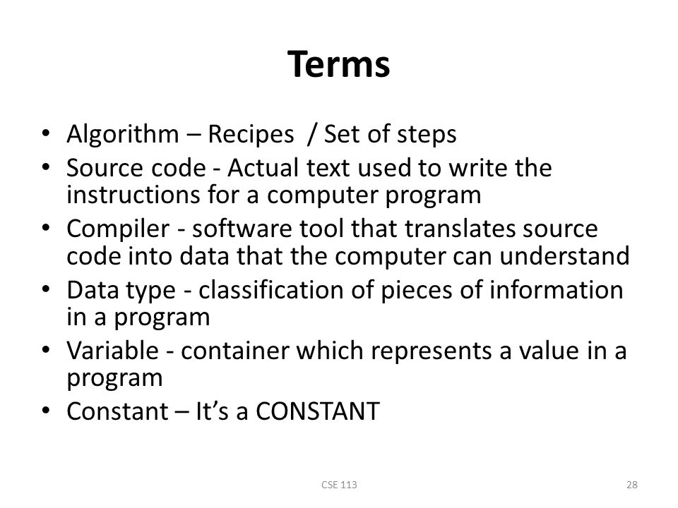 Terms Algorithm – Recipes / Set of steps