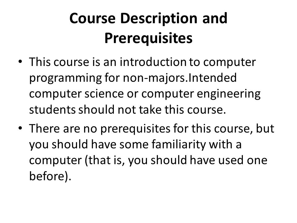 Course Description and Prerequisites