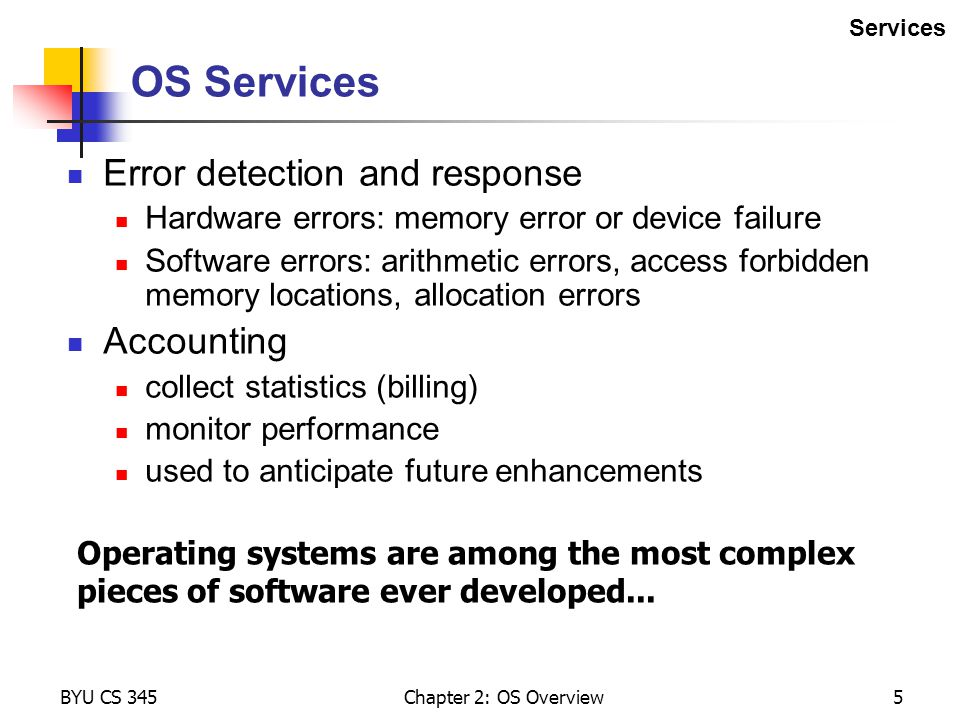 OS Services Error detection and response Accounting