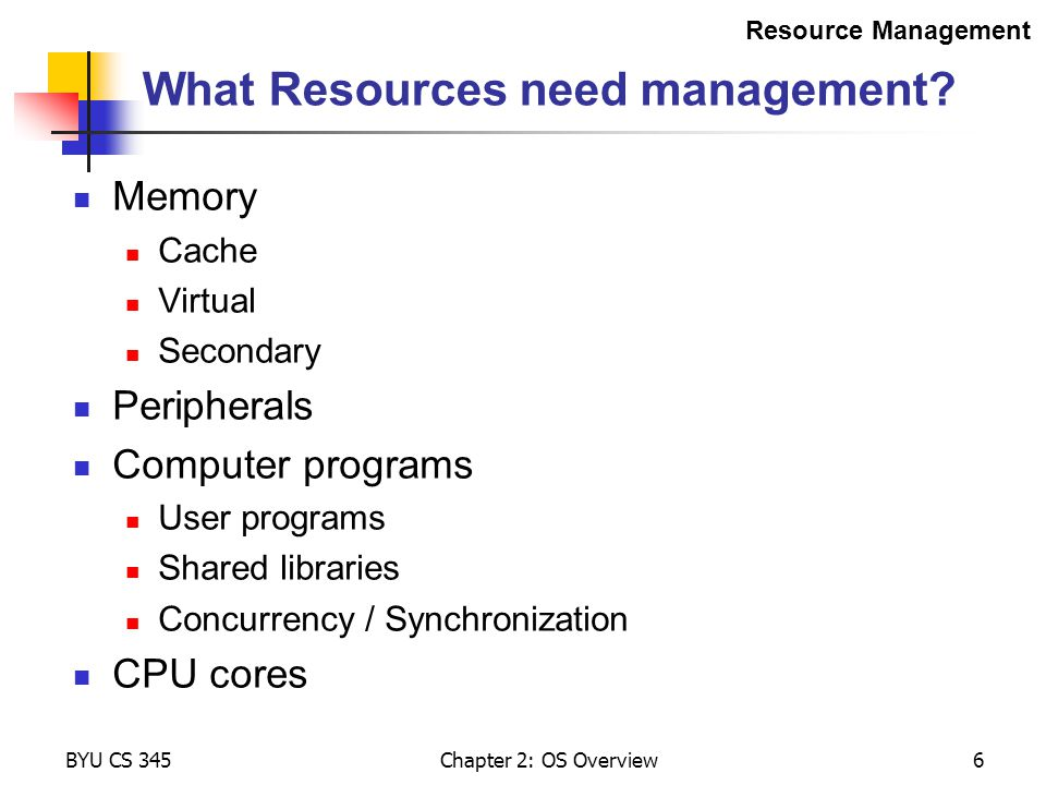 What Resources need management