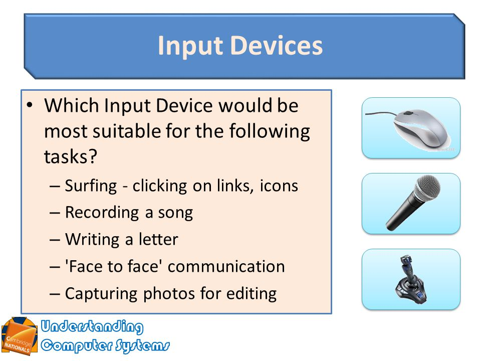 pc input devices essay To create paragraphs in your essay response,  list five input devices and three output devices that might be attached to a pc.