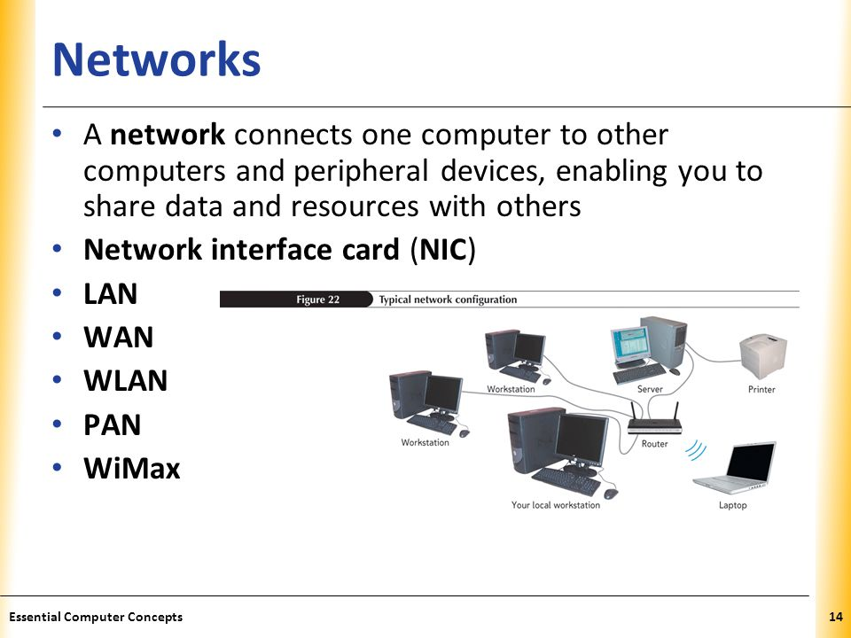 Networks A network connects one computer to other computers and peripheral devices, enabling you to share data and resources with others.