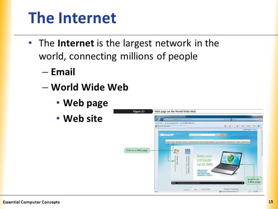 The Internet The Internet is the largest network in the world, connecting millions of people.  .