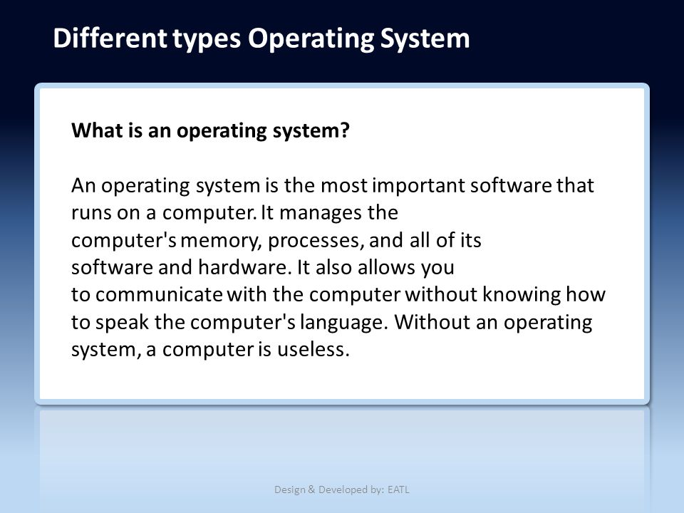 the importance of the operating system in computer technology What is the importance of an operating system (os) what reasons would a computer user have to change from one os to another what do you like and dislike about the.