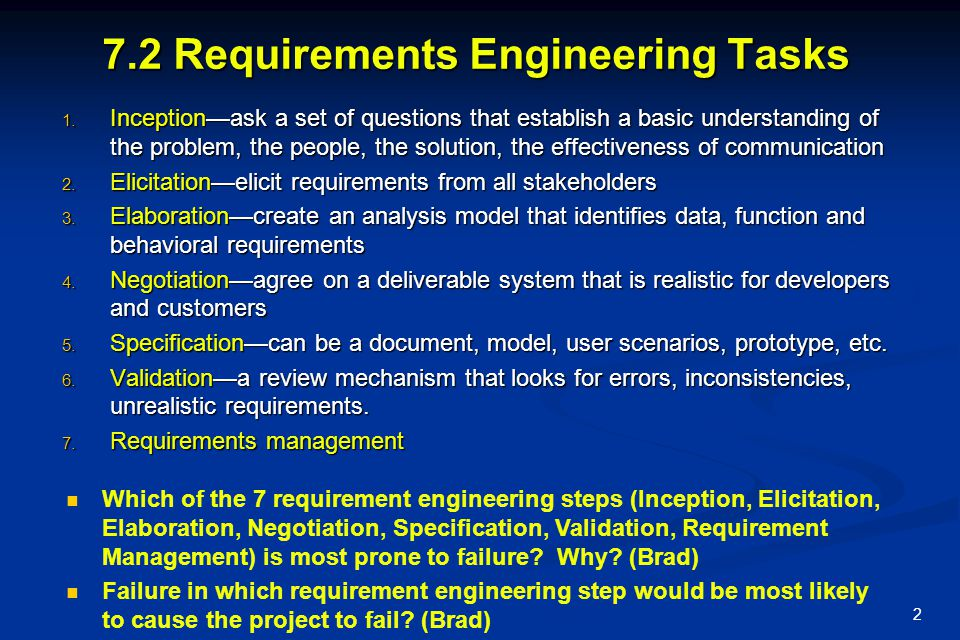 7.2 Requirements Engineering Tasks