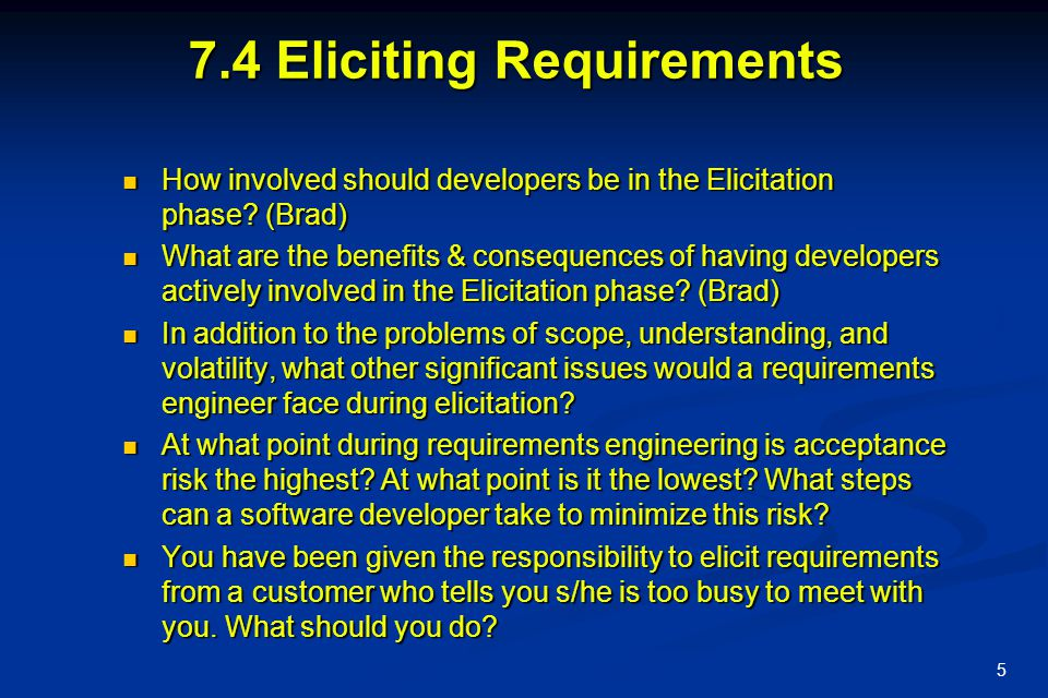 7.4 Eliciting Requirements