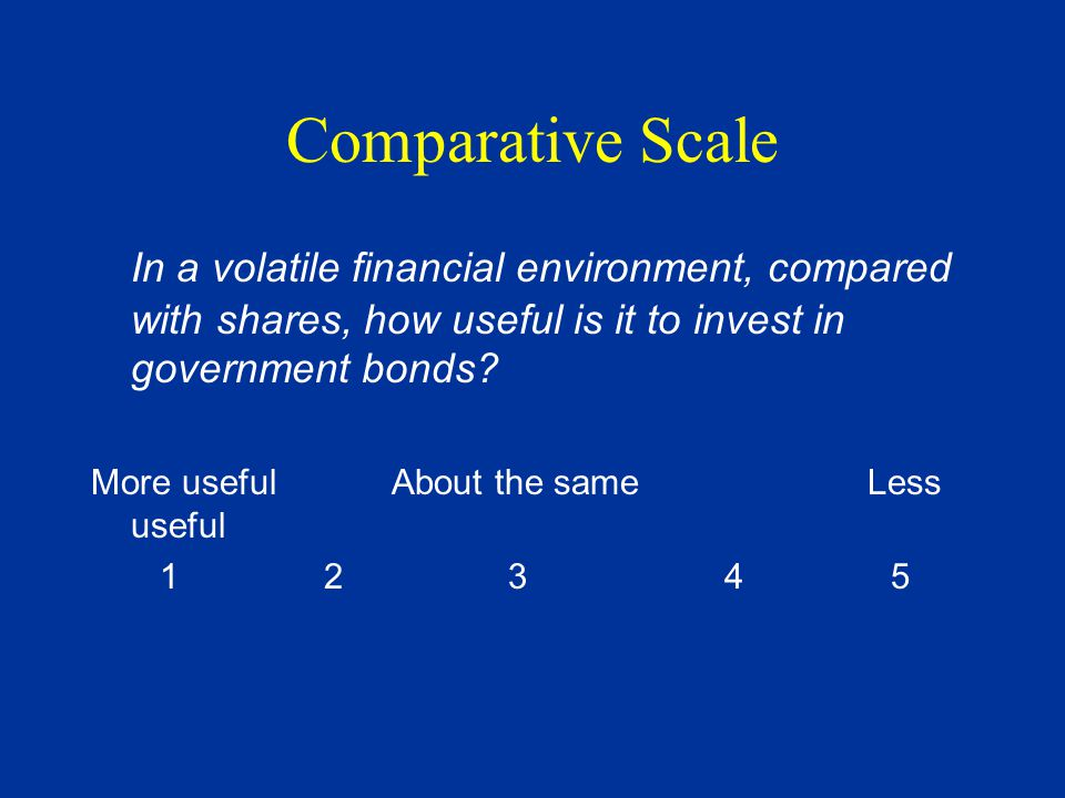 Comparative Scale In a volatile financial environment, compared with shares, how useful is it to invest in government bonds