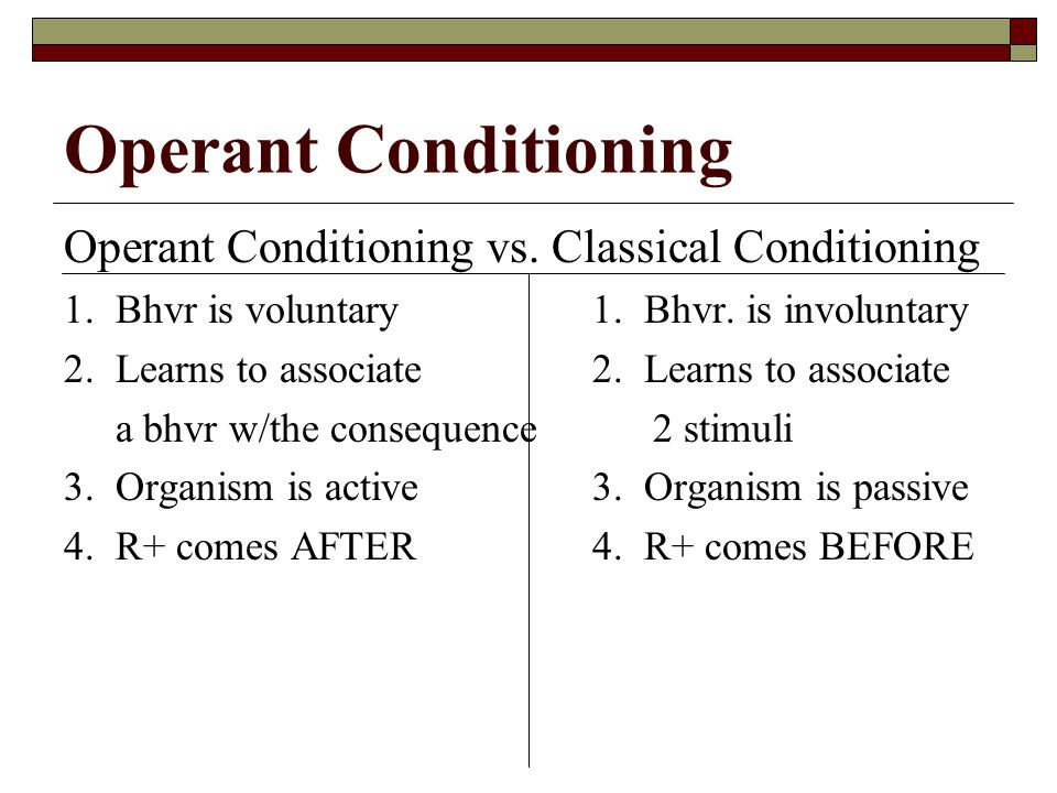 classical versus operant conditioning essay Get an answer for 'what are the similarities and differences between classical and operant conditioning' and find homework help for other reference questions at enotes.