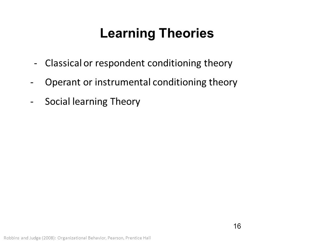 learning theories in organisational behaviour pdf