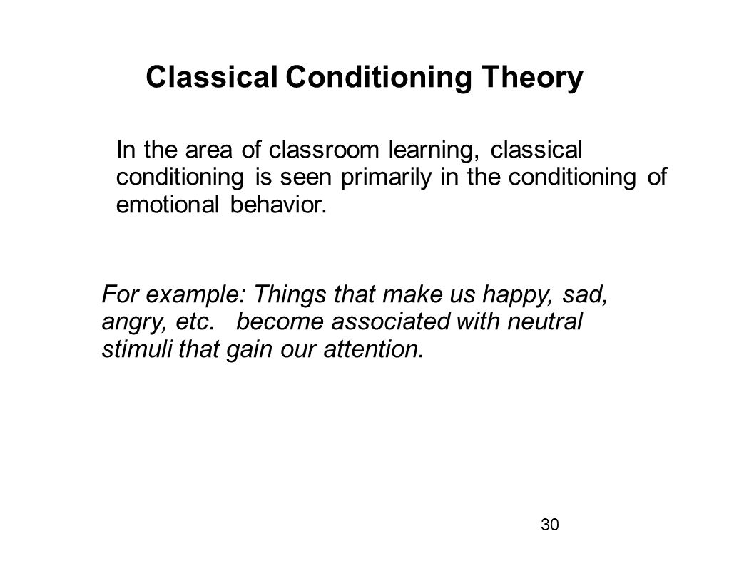 classical conditioning theories and its uses in an educational setting There are two forms of associative learning: classical conditioning with in-depth coverage of operant and classical conditioning theory, its applications.