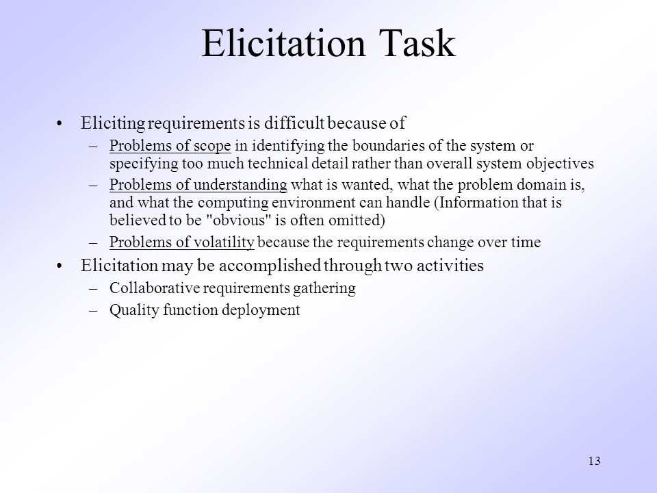 Elicitation Task Eliciting requirements is difficult because of