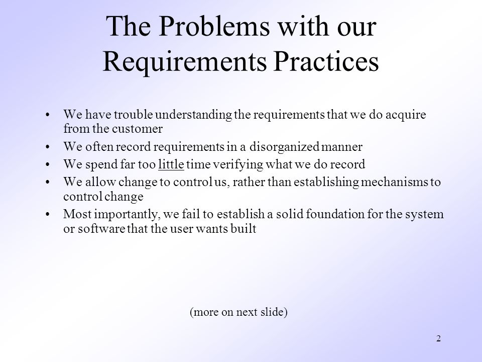 The Problems with our Requirements Practices