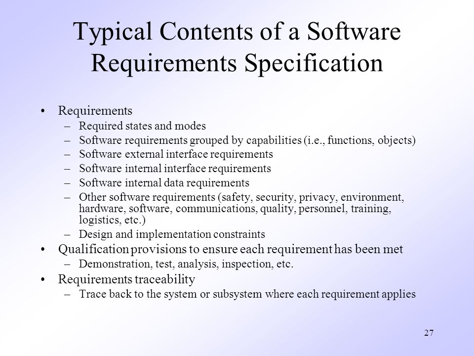 Typical Contents of a Software Requirements Specification