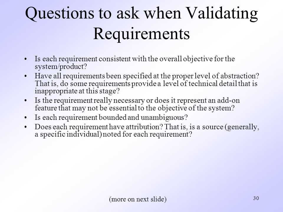 Questions to ask when Validating Requirements