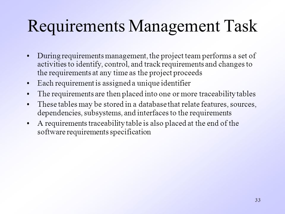 Requirements Management Task