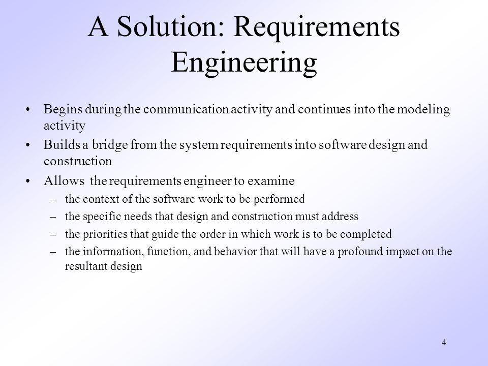 A Solution: Requirements Engineering