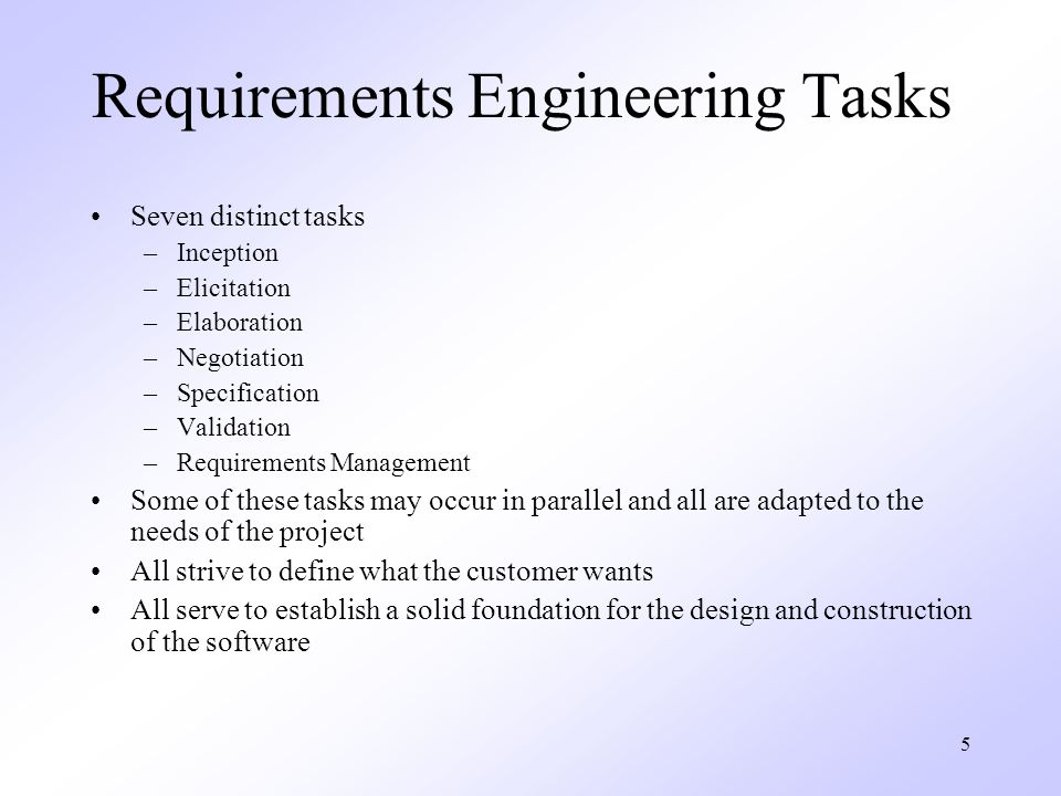 Requirements Engineering Tasks
