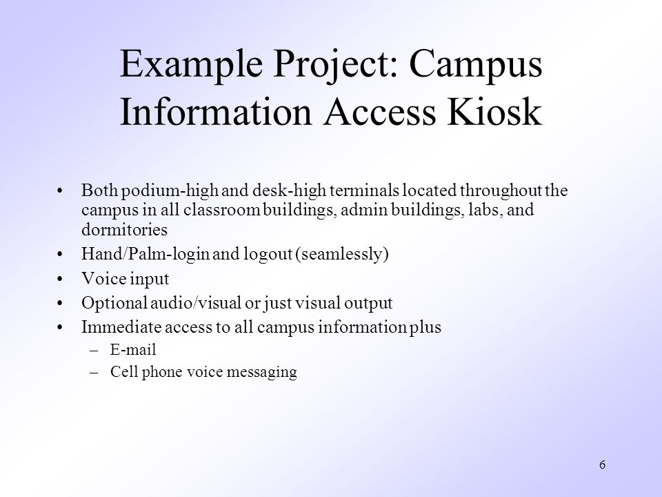 Example Project: Campus Information Access Kiosk