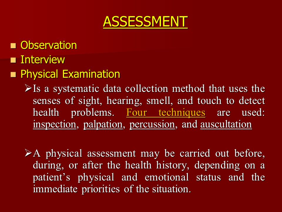 physical observed assessment analysis Physical assessment 2003, 1999, 1995, 1991 by mosby, inc slide 2 objective data defined objective data as observed by the examiner.