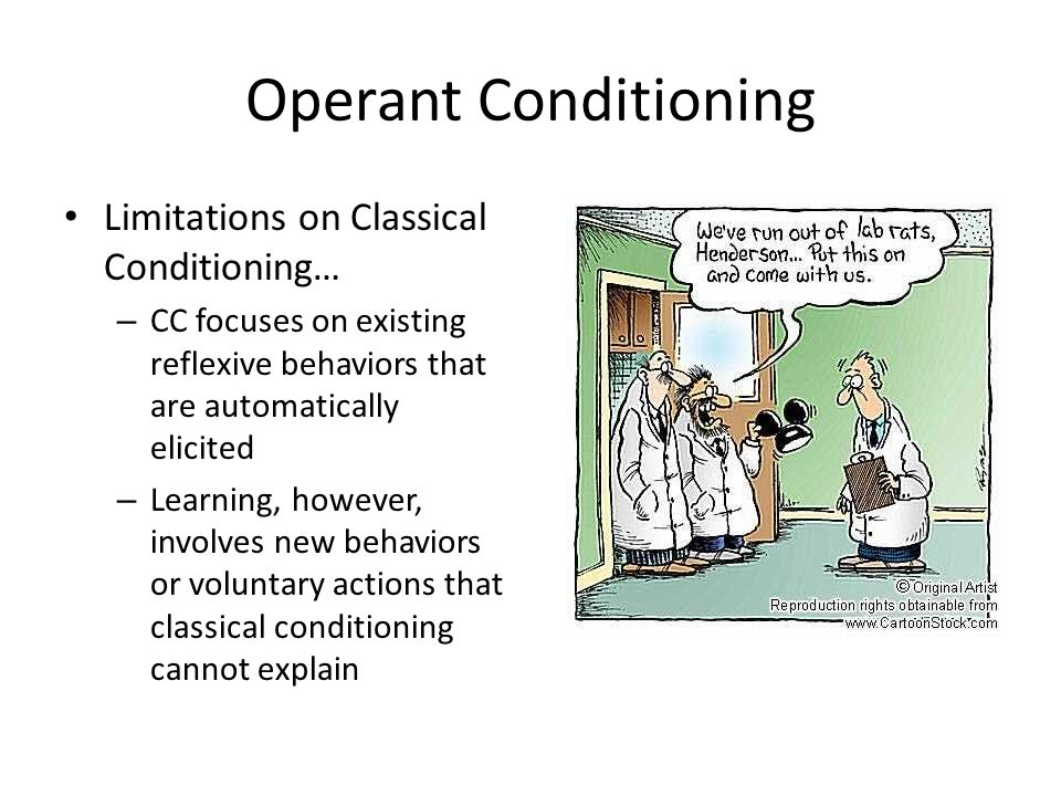 effects of classical and operant conditioning in learning Aplysia has also been a useful model system in which to examine the modulatory effects of operant learning operant conditioning differs from classical.