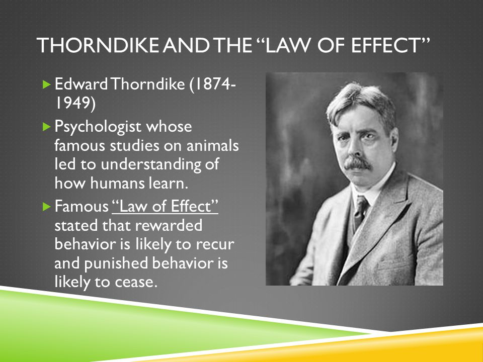 thorndikes law of effect operant conditioning essay Conditioning human behavior is a testing their theories were edward thorndike and b thorndike's law of effect states that a response.
