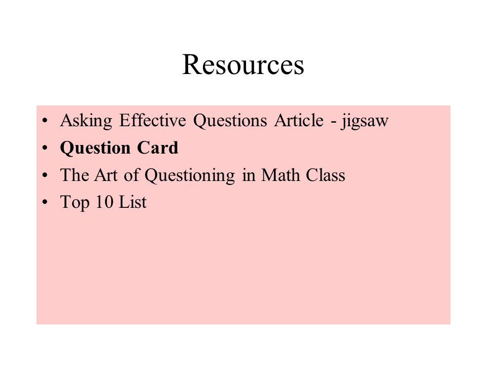 Resources Asking Effective Questions Article - jigsaw Question Card